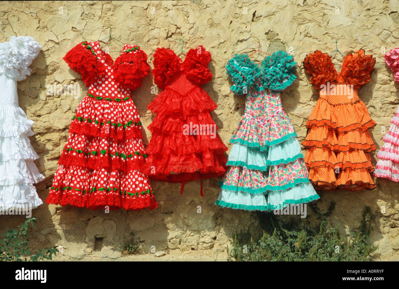 Flamenco clothes / La Nucia / Flamenco-Kleider - Stock Image