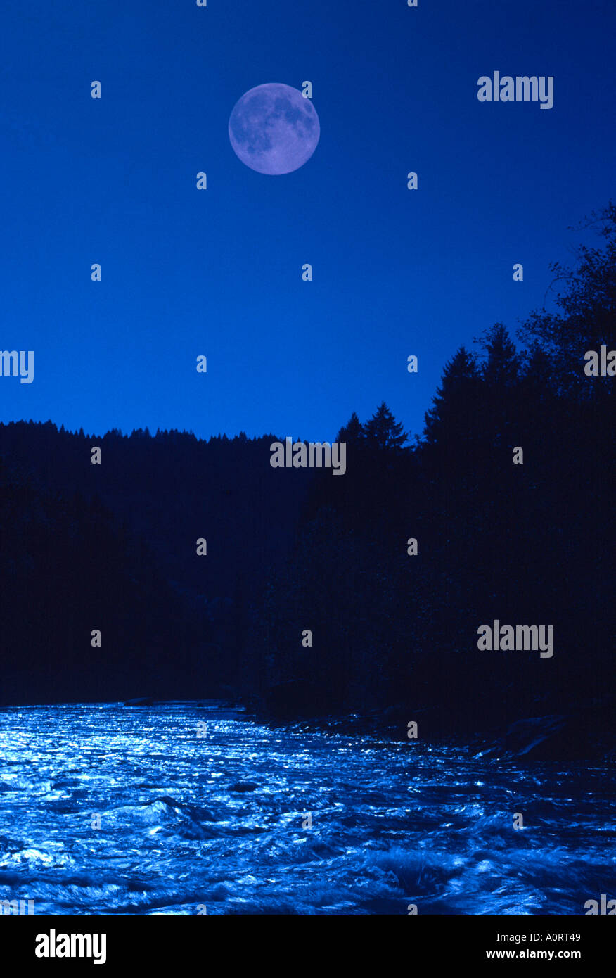full moon and moonlight on river Martins Rapids McKenzie River Oregon 159675  - Stock Image