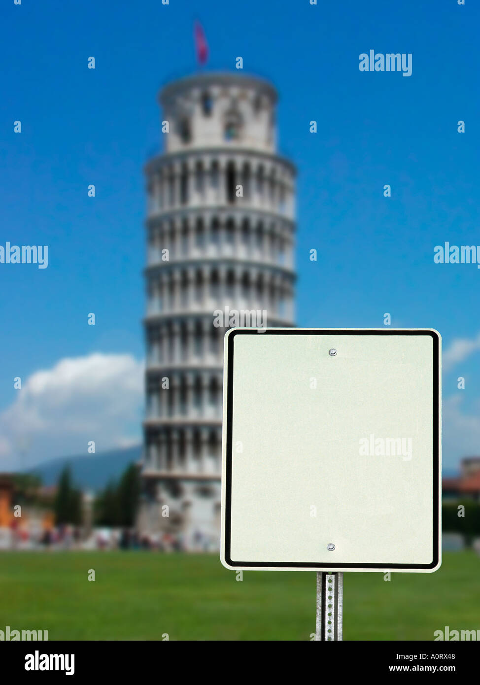 Blank sign with the Leaning Tower of Pisa straight up in the background - one image in a series of three - Stock Image