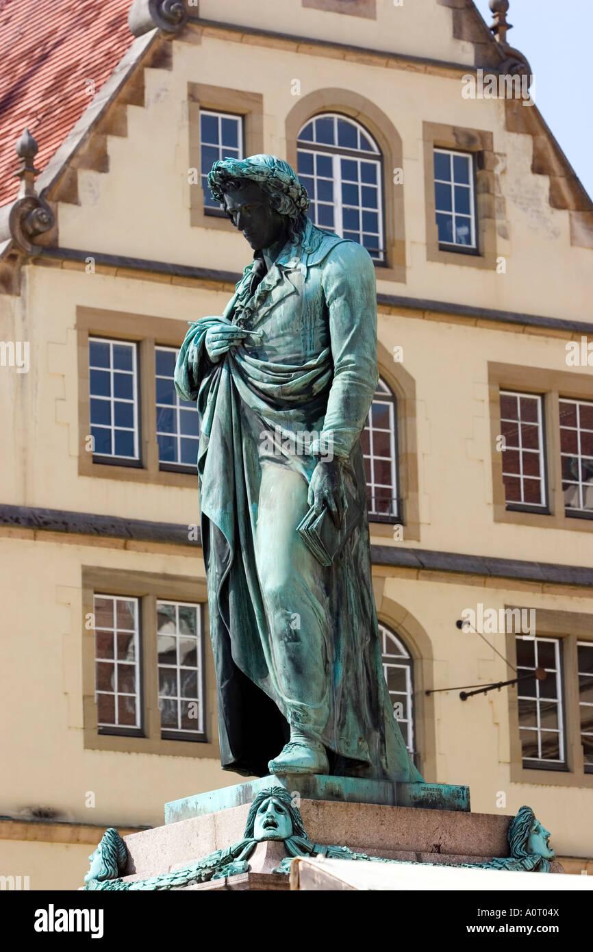 Statue of the poet Friedrich Schiller Schillerplatz Stuttgart Baden Wurttemberg Germany Europe - Stock Image