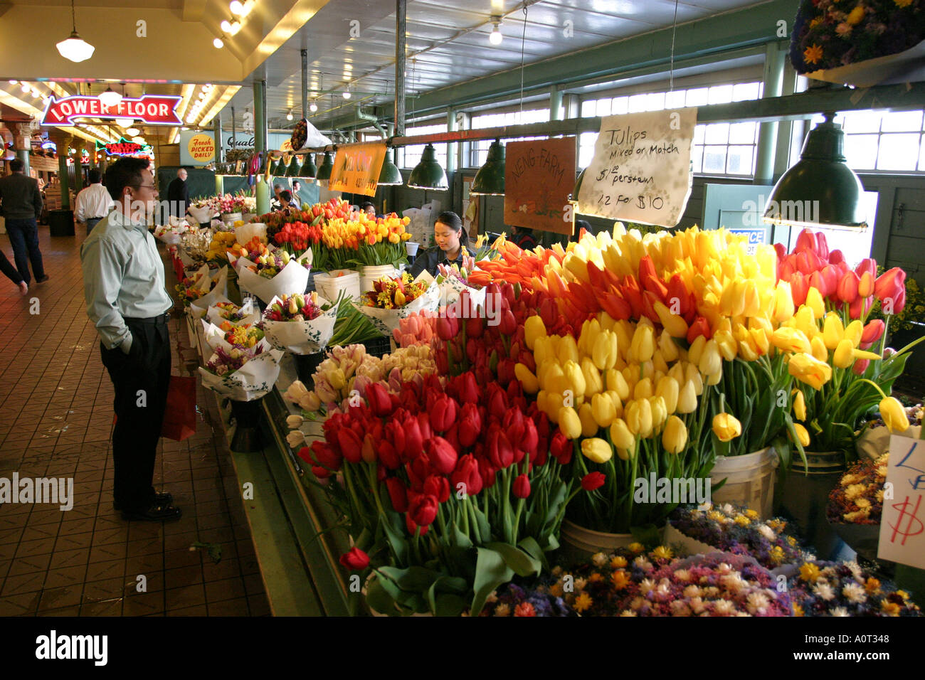 Flower Stand Inside Pike Place Market Seattle Washington
