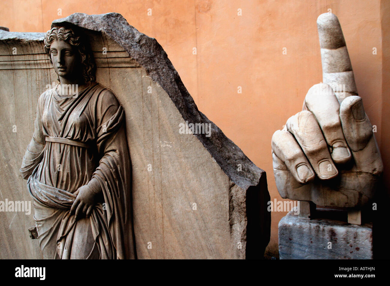 A relief Sculpture from the Temple of Hadrian in the Palazzo dei Conservatori. Part of the Musei Capitolini Rome - Stock Image