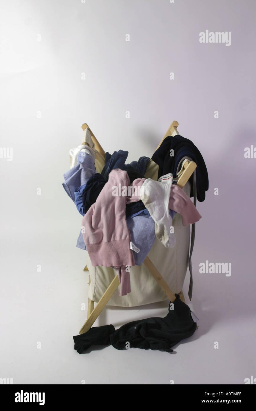 Dirty washing basket box trolley - Stock Image