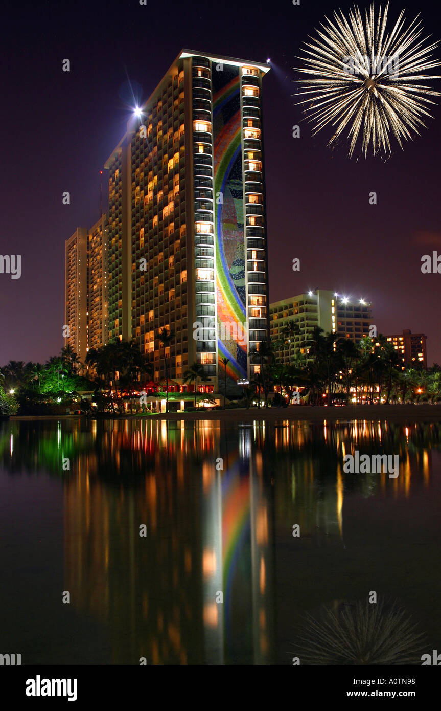 Hilton Hawaiian Village with fireworks and reflecting lagoon at ...