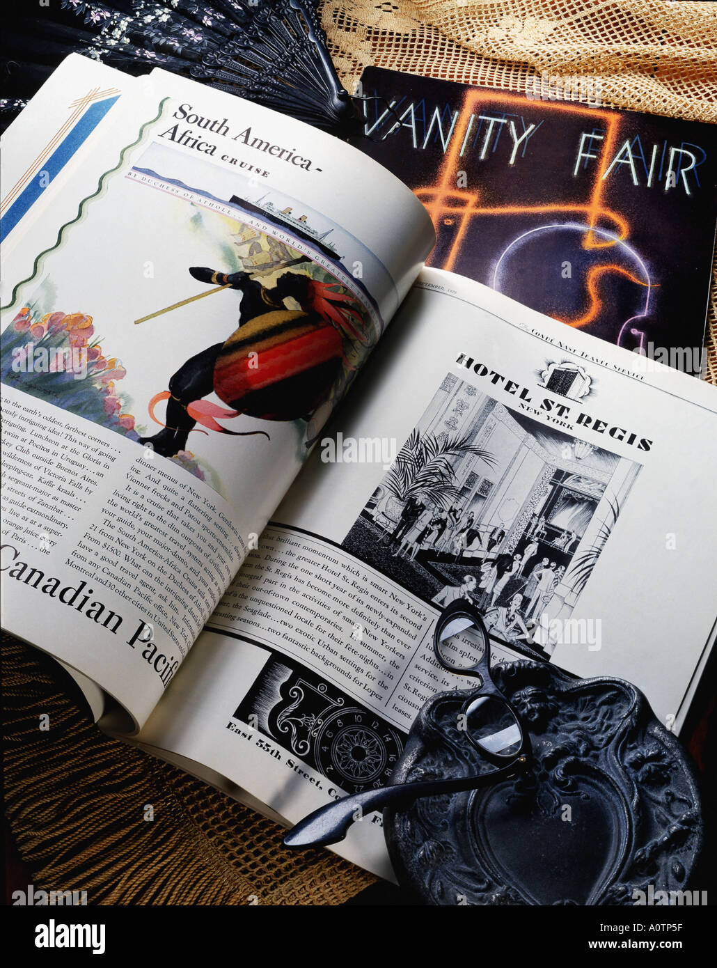 Still life of vintage Vanity Fair magazines Showing a