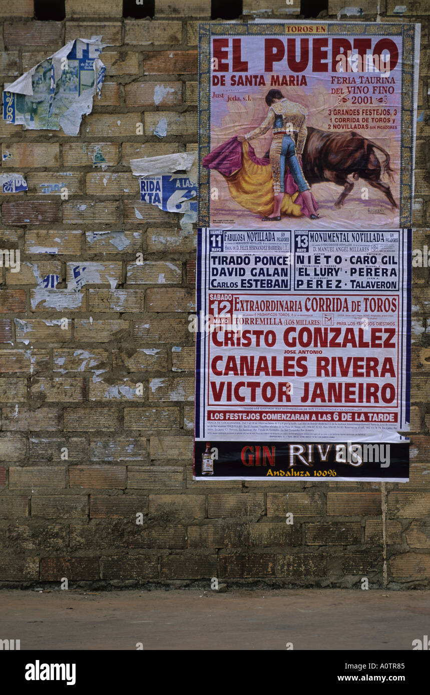 Bullfight poster Andalusia - Stock Image