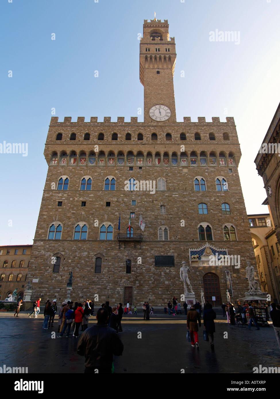 Palazzo Vecchio old palace front view Piazza della Signoria Florence Tuscany Italy Stock Photo