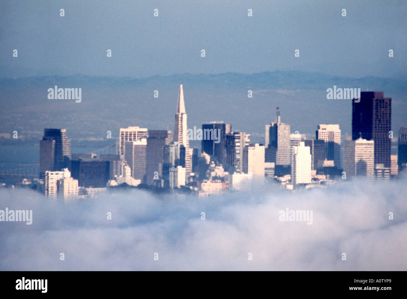 famous san francisco skyline and skyscrapers floating above the