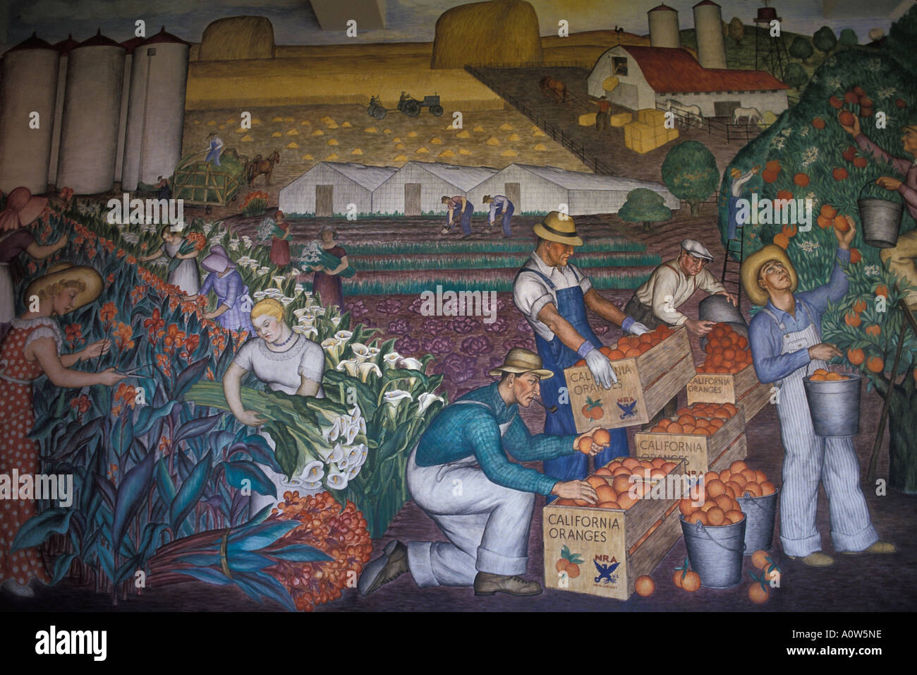 Agricultural life mural painted in the Coit Tower San Francisco California - Stock Image
