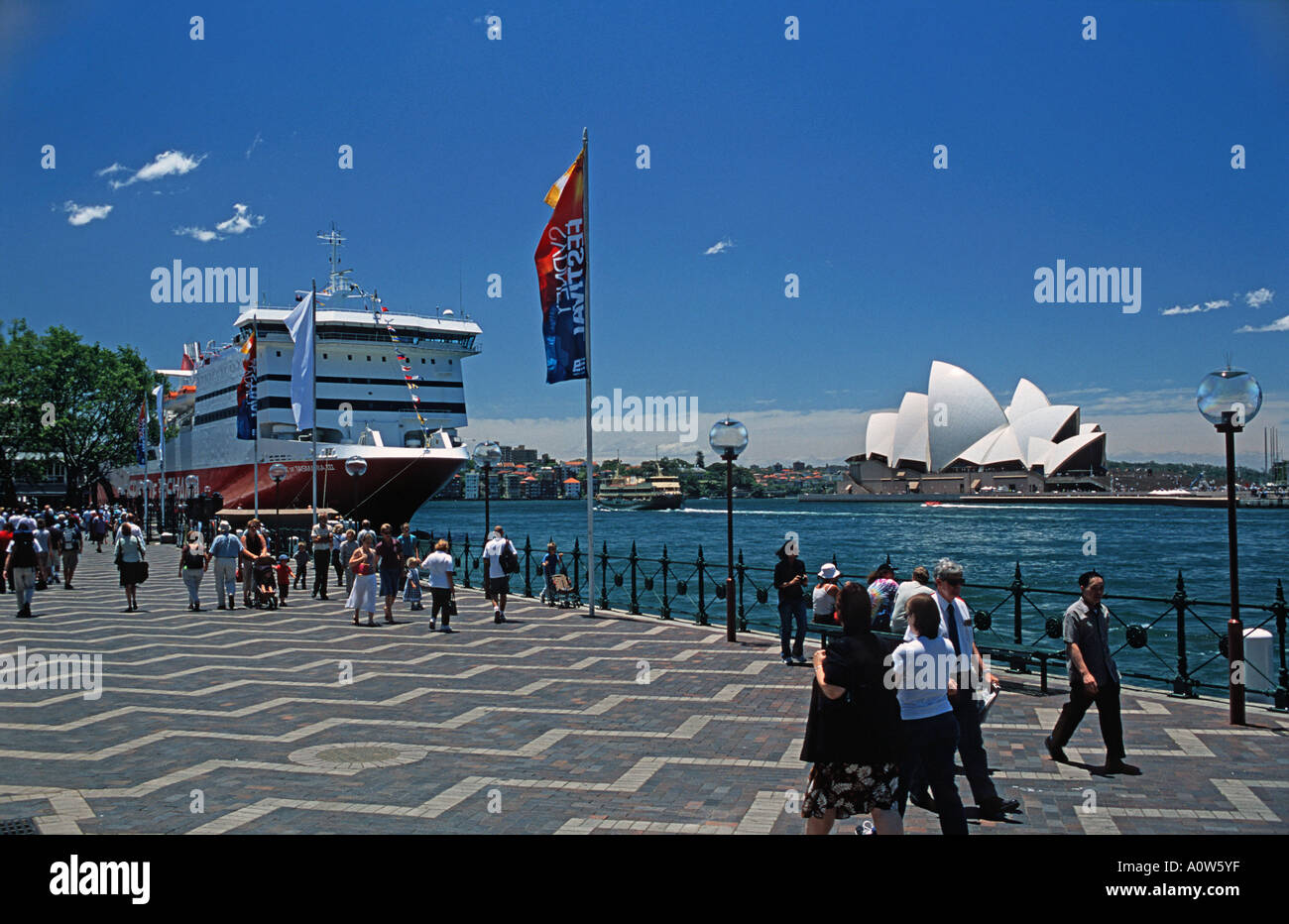 View of the famous Sydney Opera House Sydney Harbour Sydney Australia Spirit of Tasmania ship moored in the foreground - Stock Image