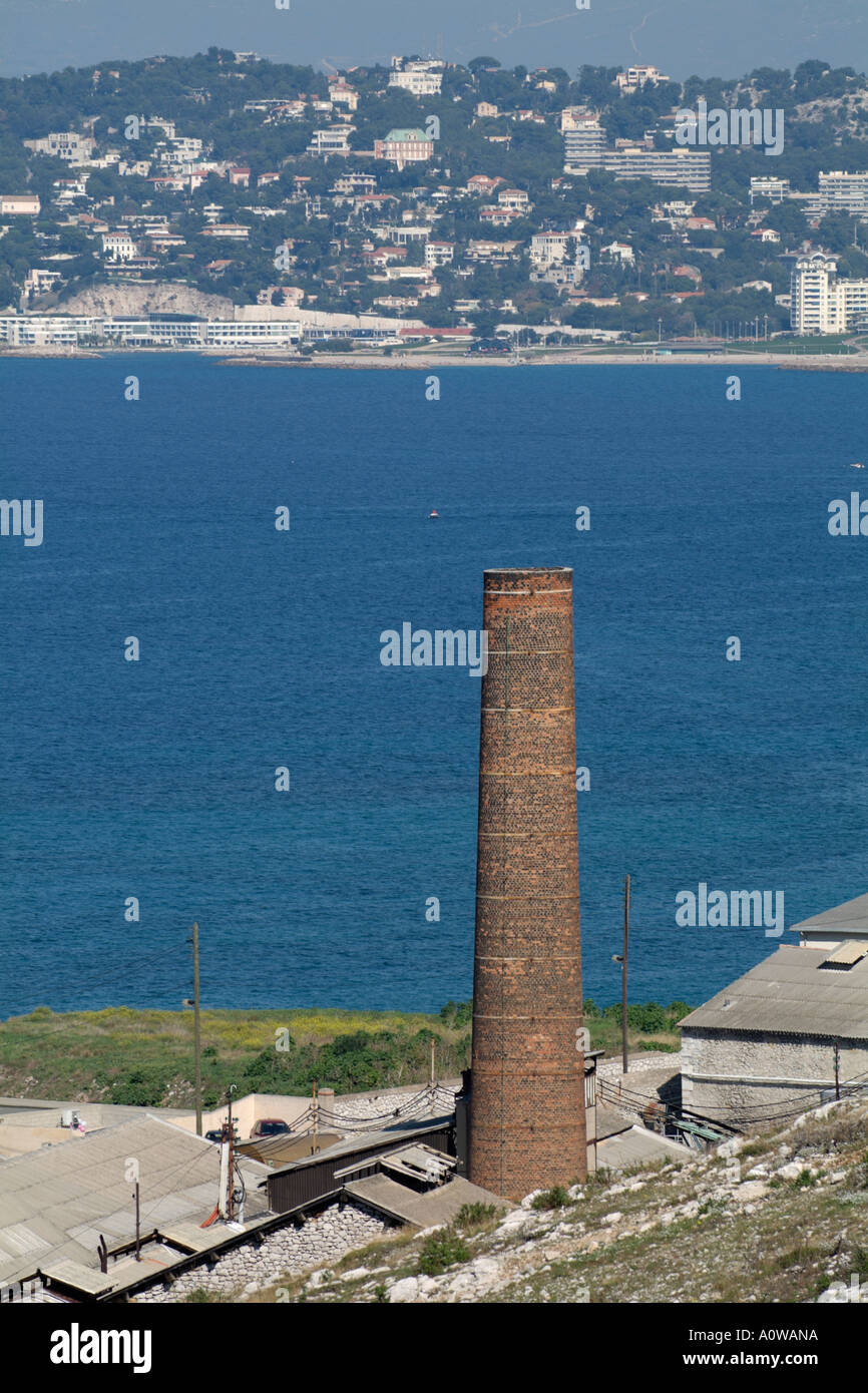 Marseille les goudes village 19th century style chimney of an industrial site - Stock Image