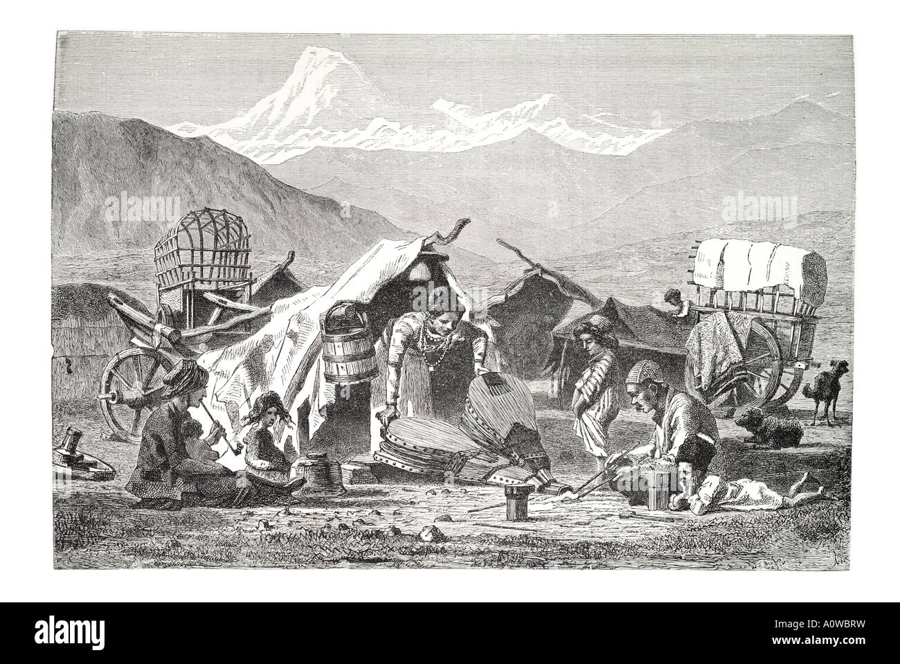 gipsy camp Caucasus work bellow smelt fire horse wagon cart family smoke pipe bucket mountain Armenia Russia nomad - Stock Image