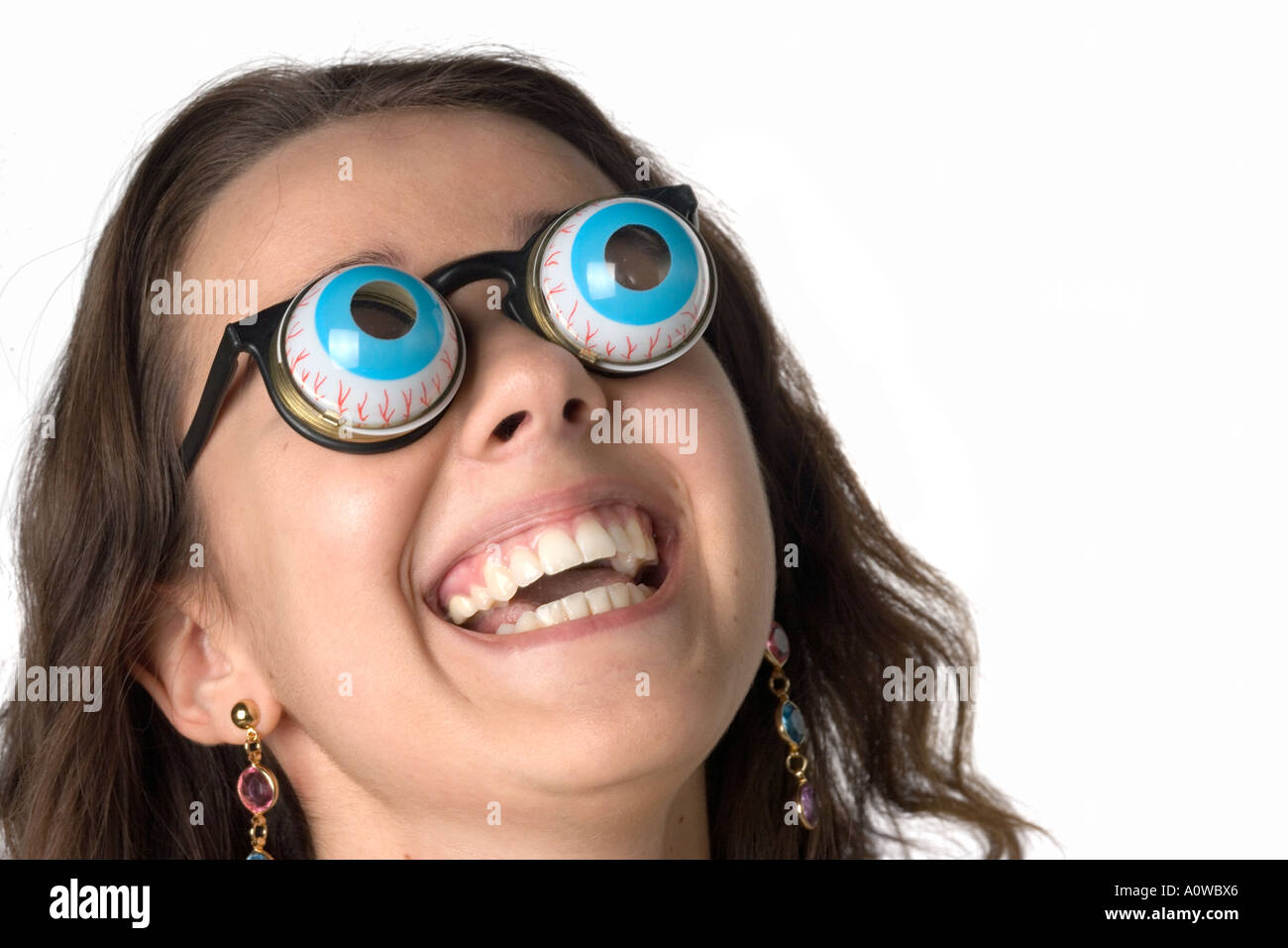 Young woman with goofy glasses - Stock Image