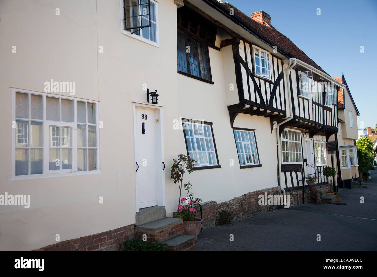 Lavenham street scene, Suffolk. - Stock Image