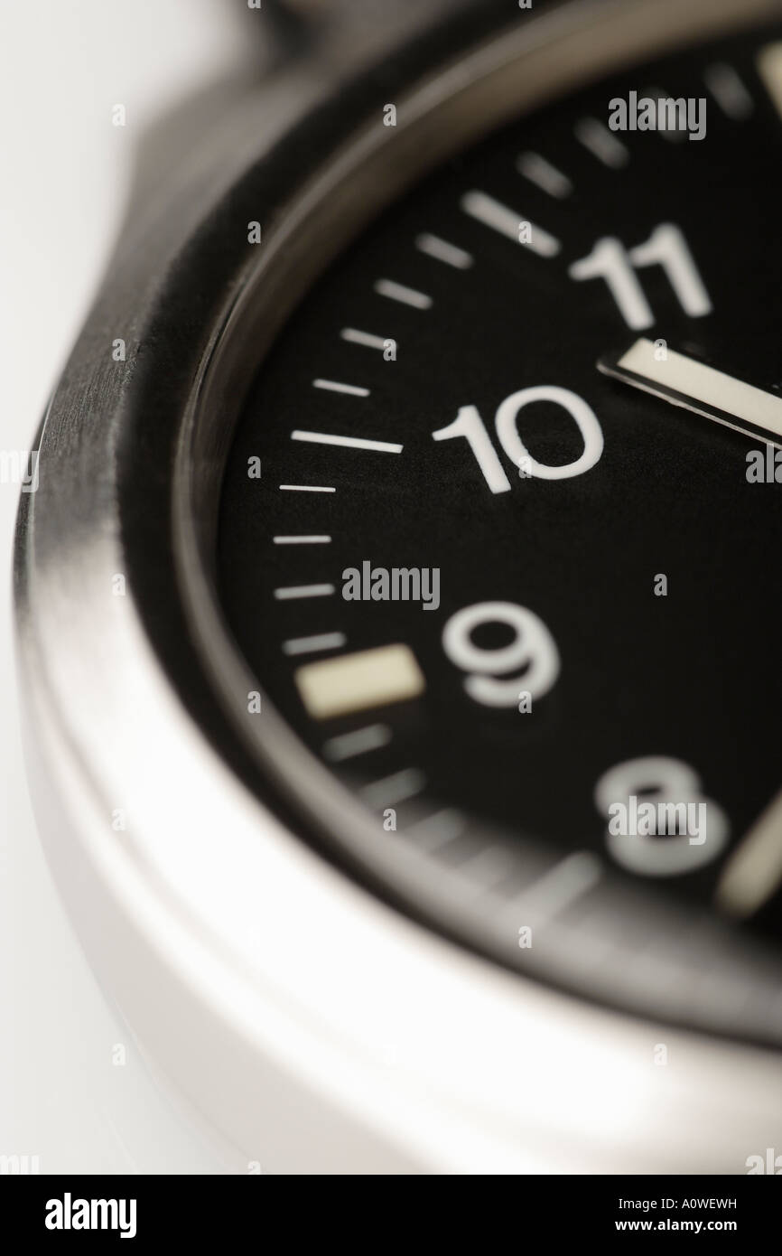 Black wristwatch dial crop - Stock Image