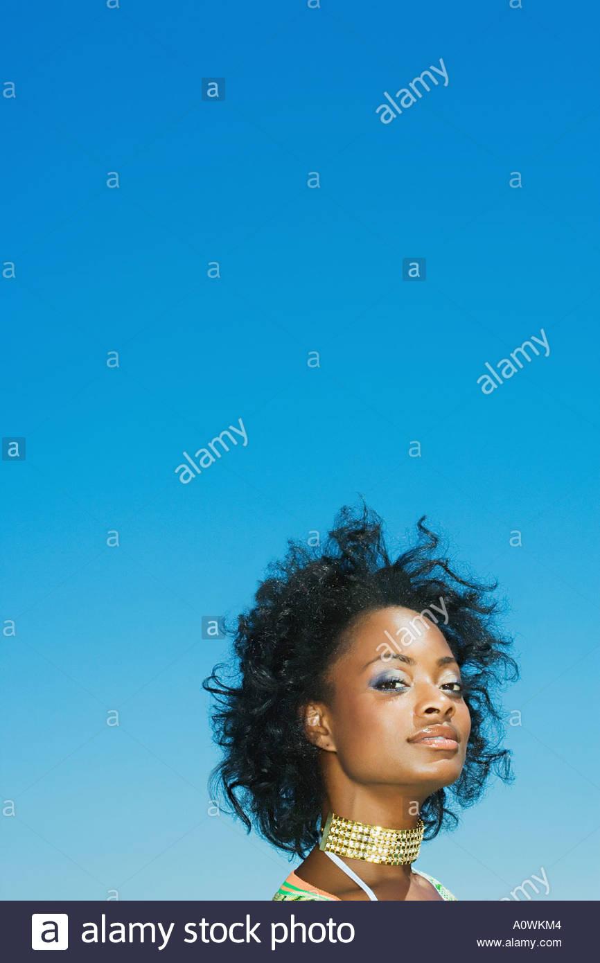 Stylish woman wearing a choker - Stock Image