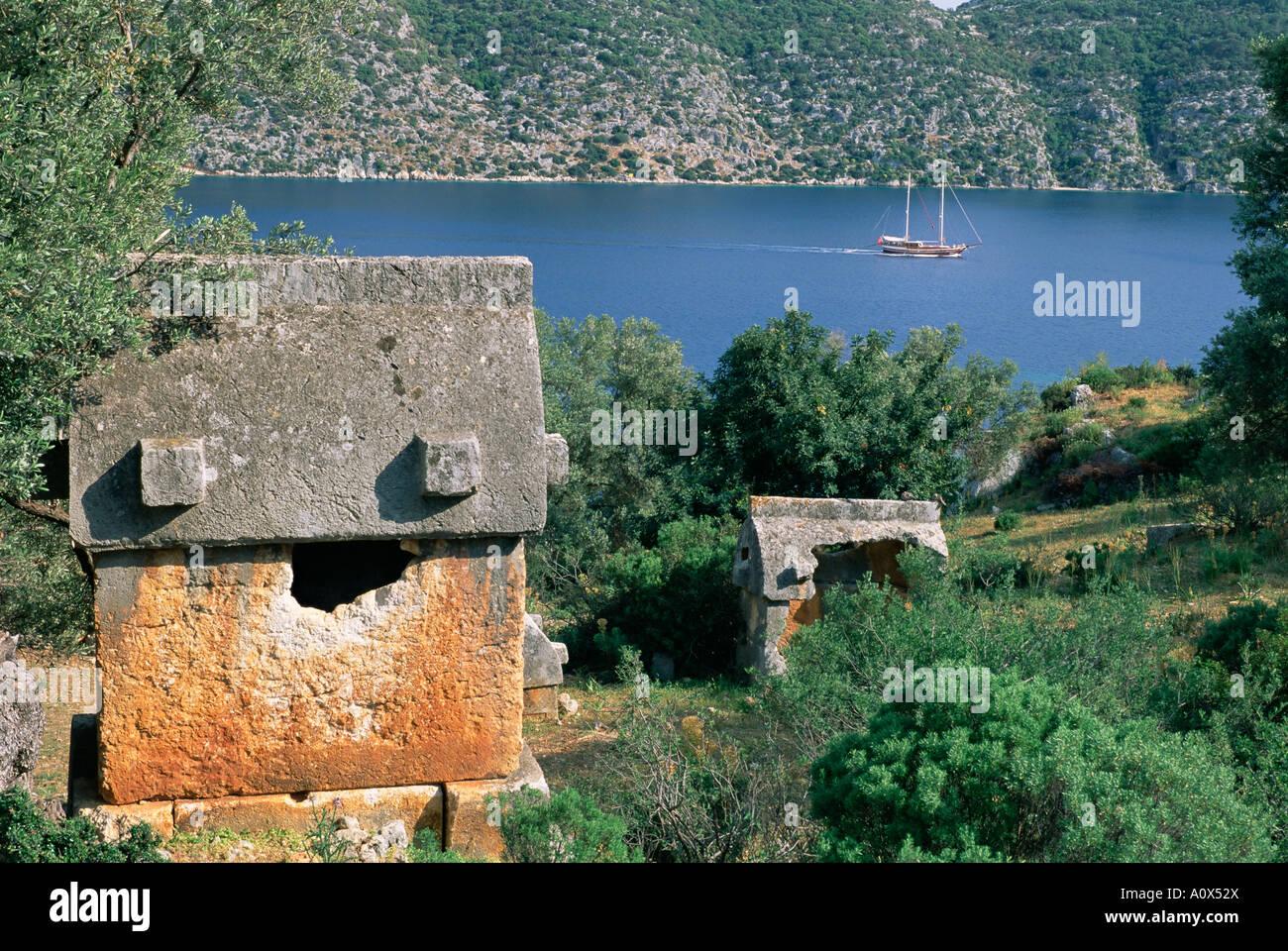 Fortress of Kalekoy Kekova Bay Lycia Anatolia Turkey Asia Minor Asia Stock Photo