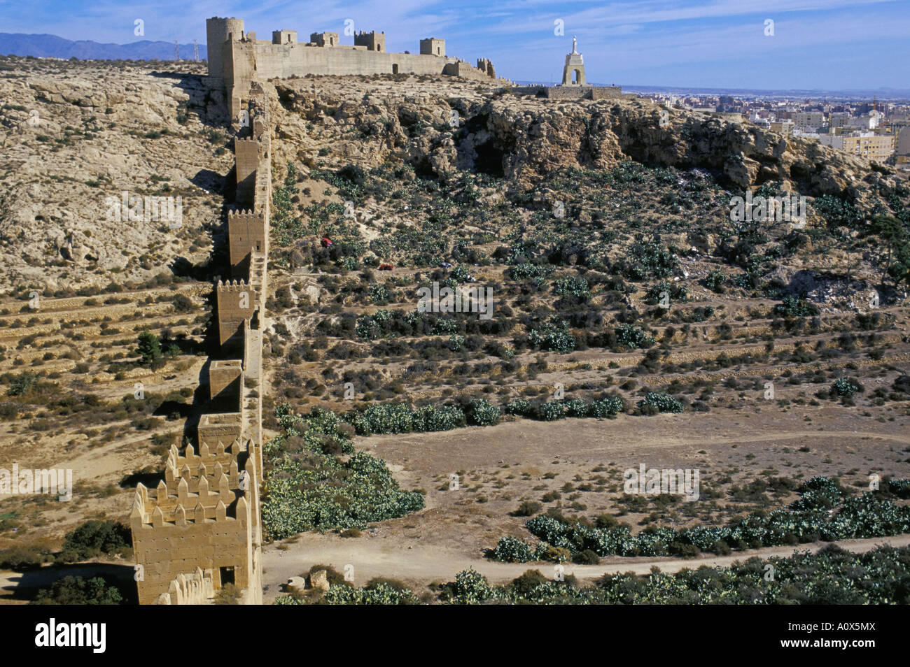 Defensive walls Muralla de la Hoya Alcazaba Moorish castle Almeria Andalucia Andalusia Spain Europe - Stock Image