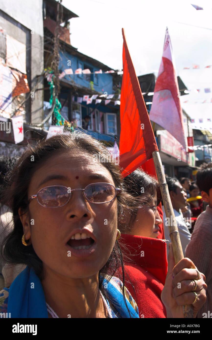India West Bengal Darjeeling maoist demonstration in the streets of darjeeling portarit of women demonstarting with - Stock Image