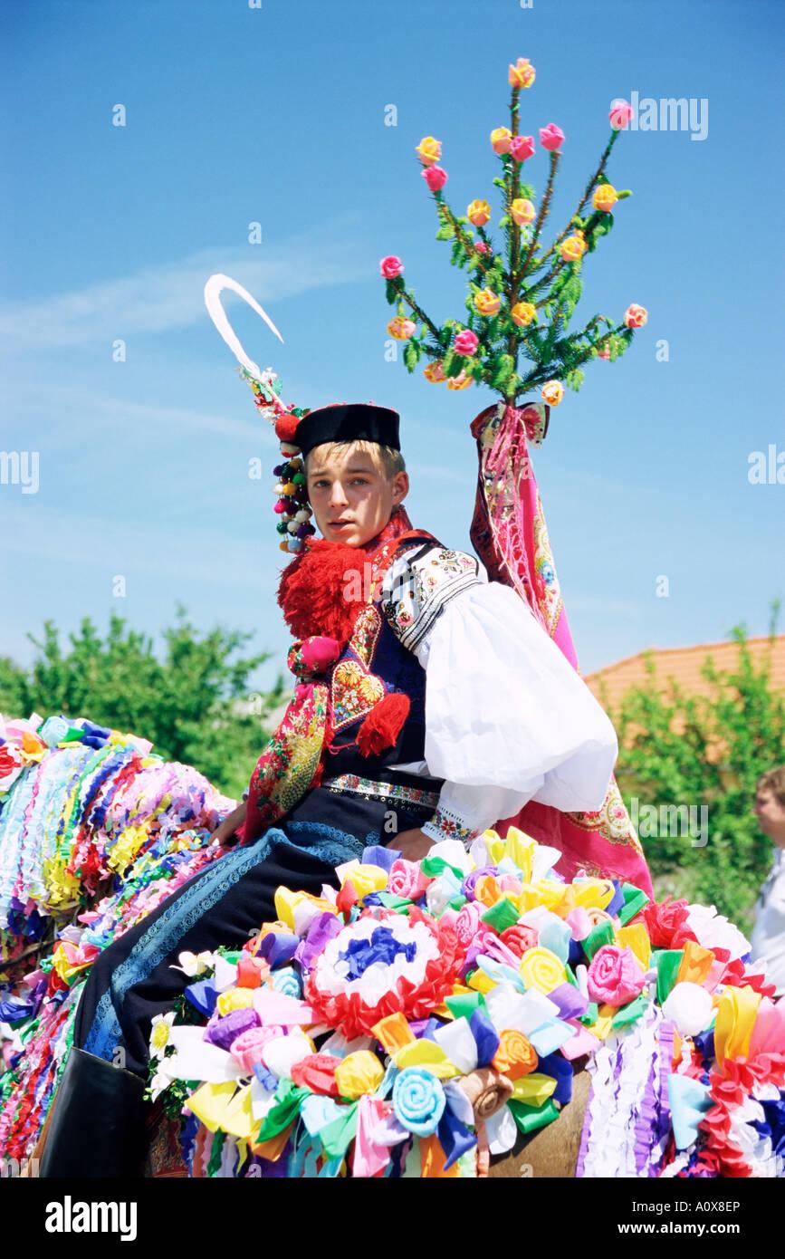 One of the king s companions wearing folk dress Ride of the Kings Festival village of Vlcnov Moravian Slovacko region Stock Photo
