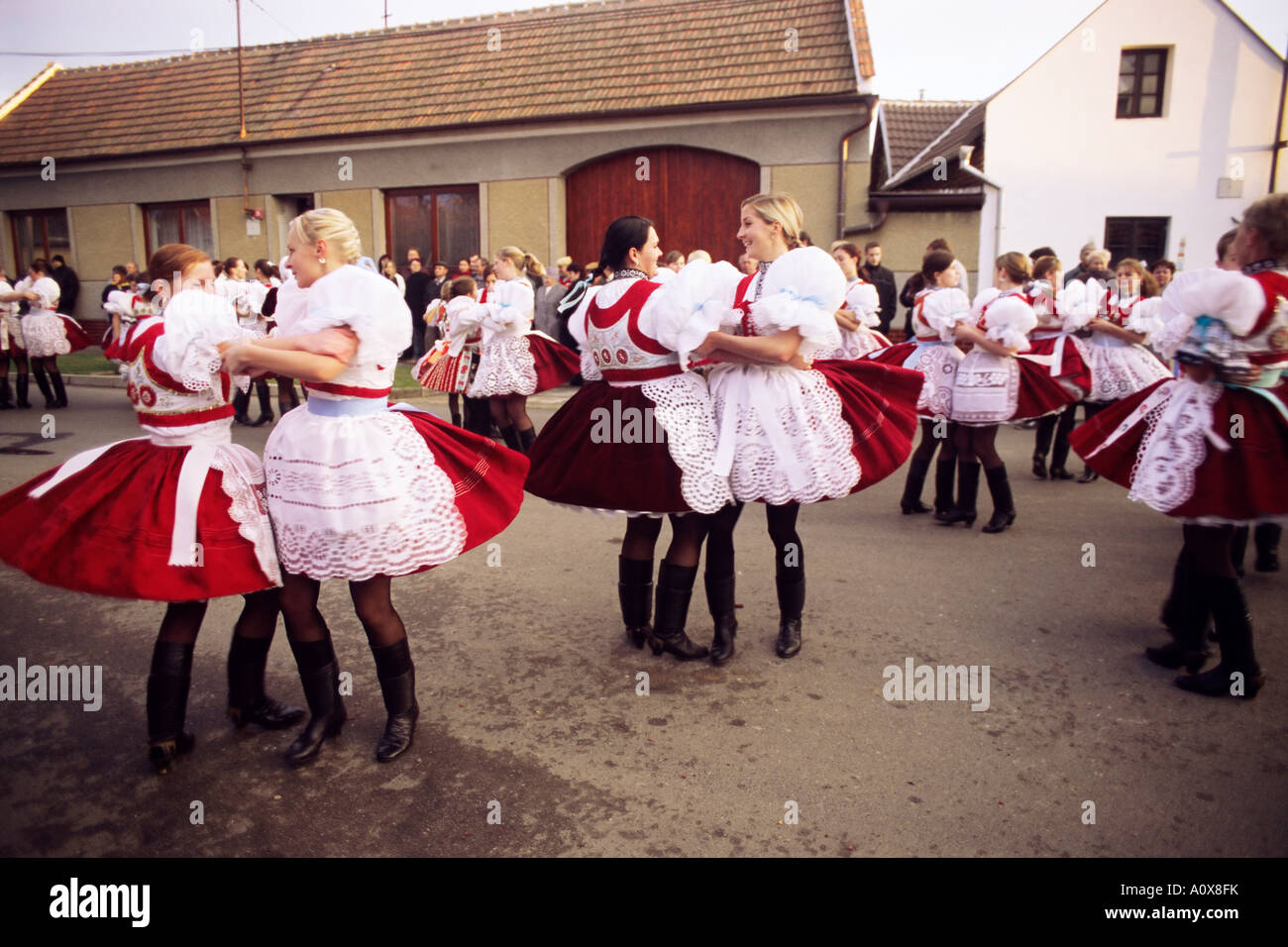 Girls dancing in traditional dress Dress Feast with Wreath and Duck Festival village of Skoronice Moravian Slovacko Stock Photo