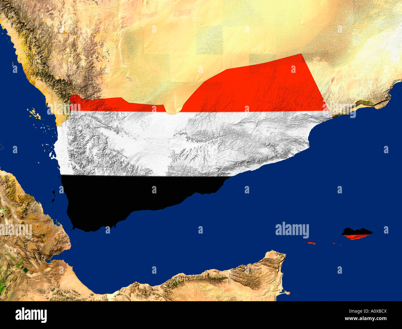 Highlighted Satellite Image of Yemen covered by that Country's Flag - Stock Image