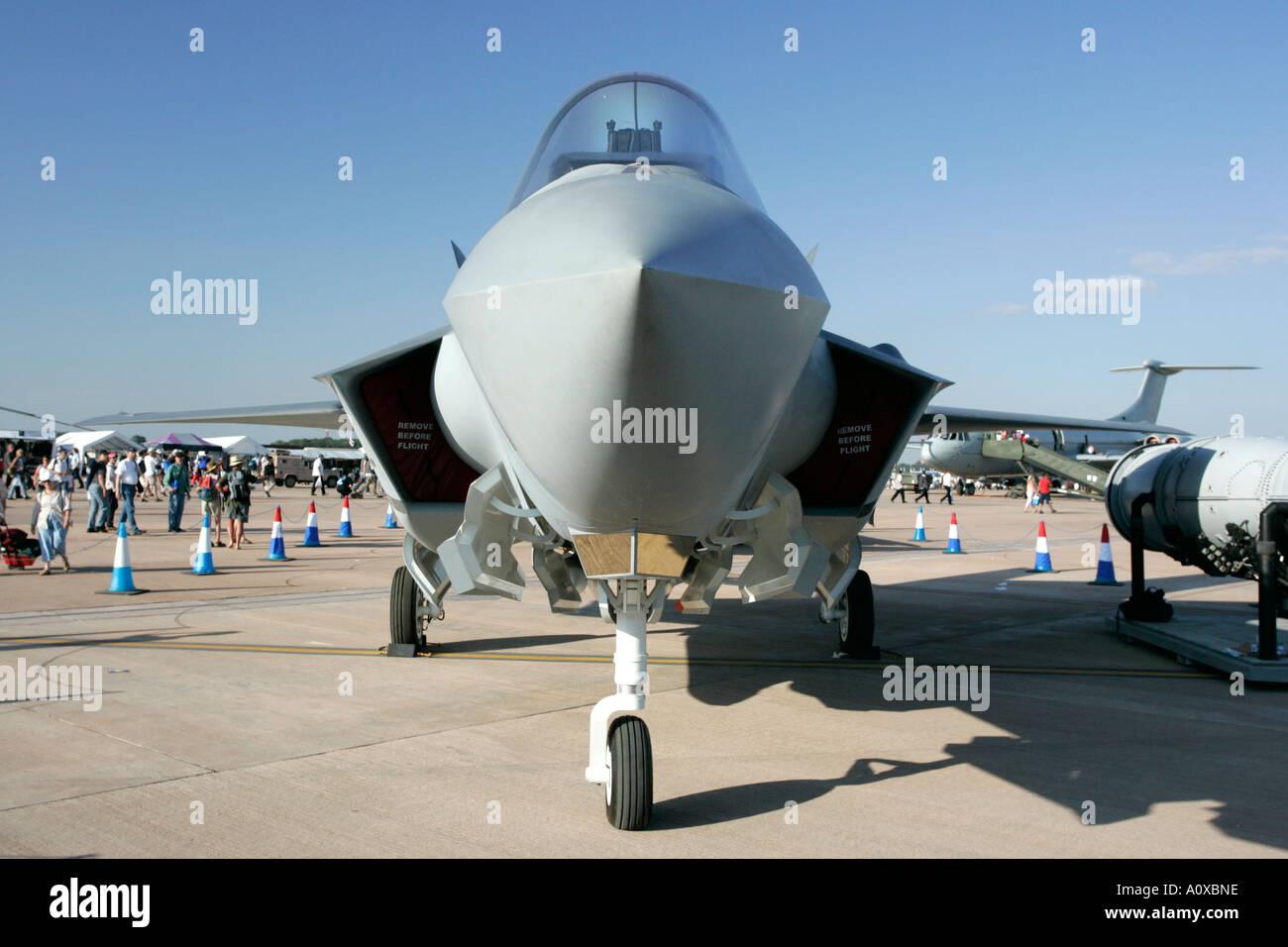 JSF Joint Strike Fighter RAF F35 X 35 Lockheed Martin mock up on static display RAF Fairford Gloucestershire England UK - Stock Image