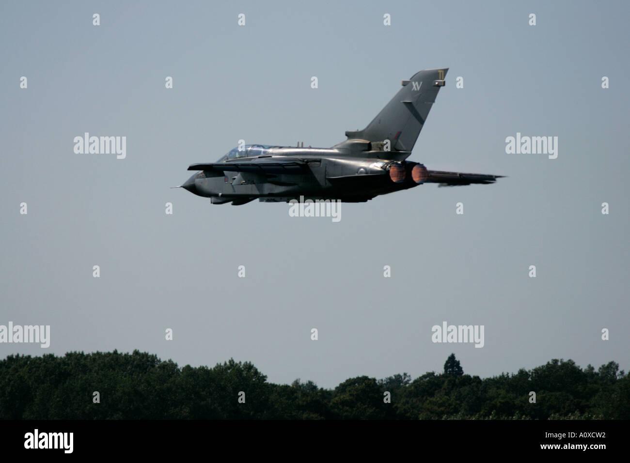 RAF Tornado GR4 flies off on afterburner RIAT 2005 RAF Fairford Gloucestershire England UK Stock Photo