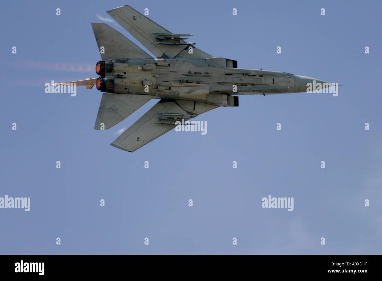 RAF Tornado F3 flying against blue sky on afterburner RIAT 2005 RAF Fairford Gloucestershire England UK - Stock Image