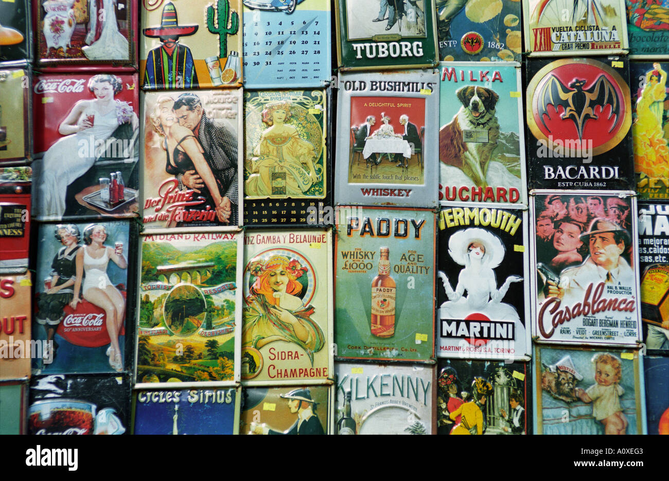 London, UK. Portobello market. Vintage advertising signs and posters - Stock Image