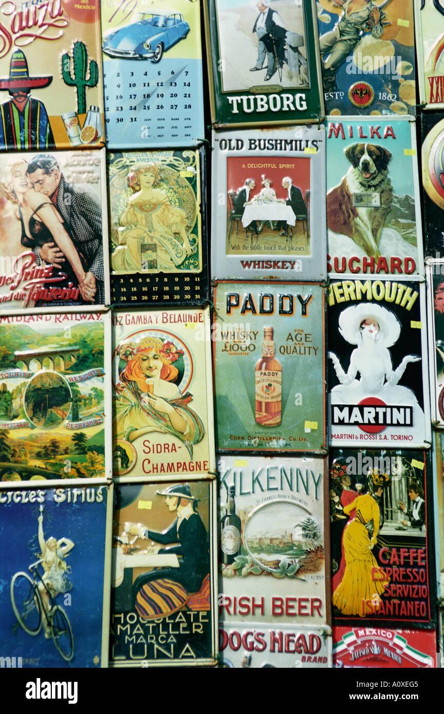 London Uk Portobello Market Vintage Advertising Signs