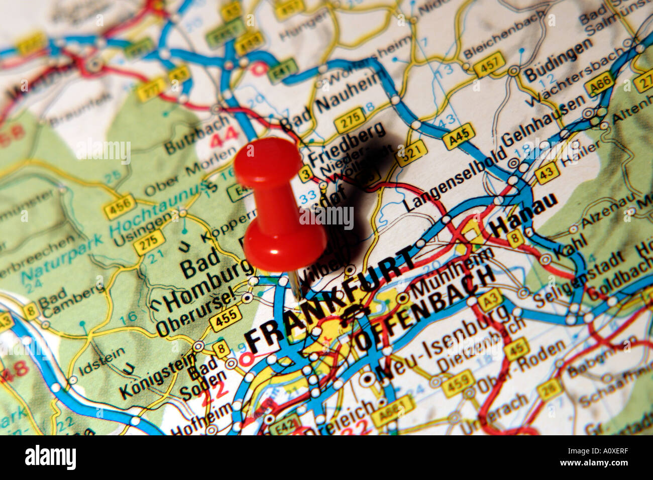 Map Pin pointing to Frankfurt , Germany on a road map Stock Photo ...