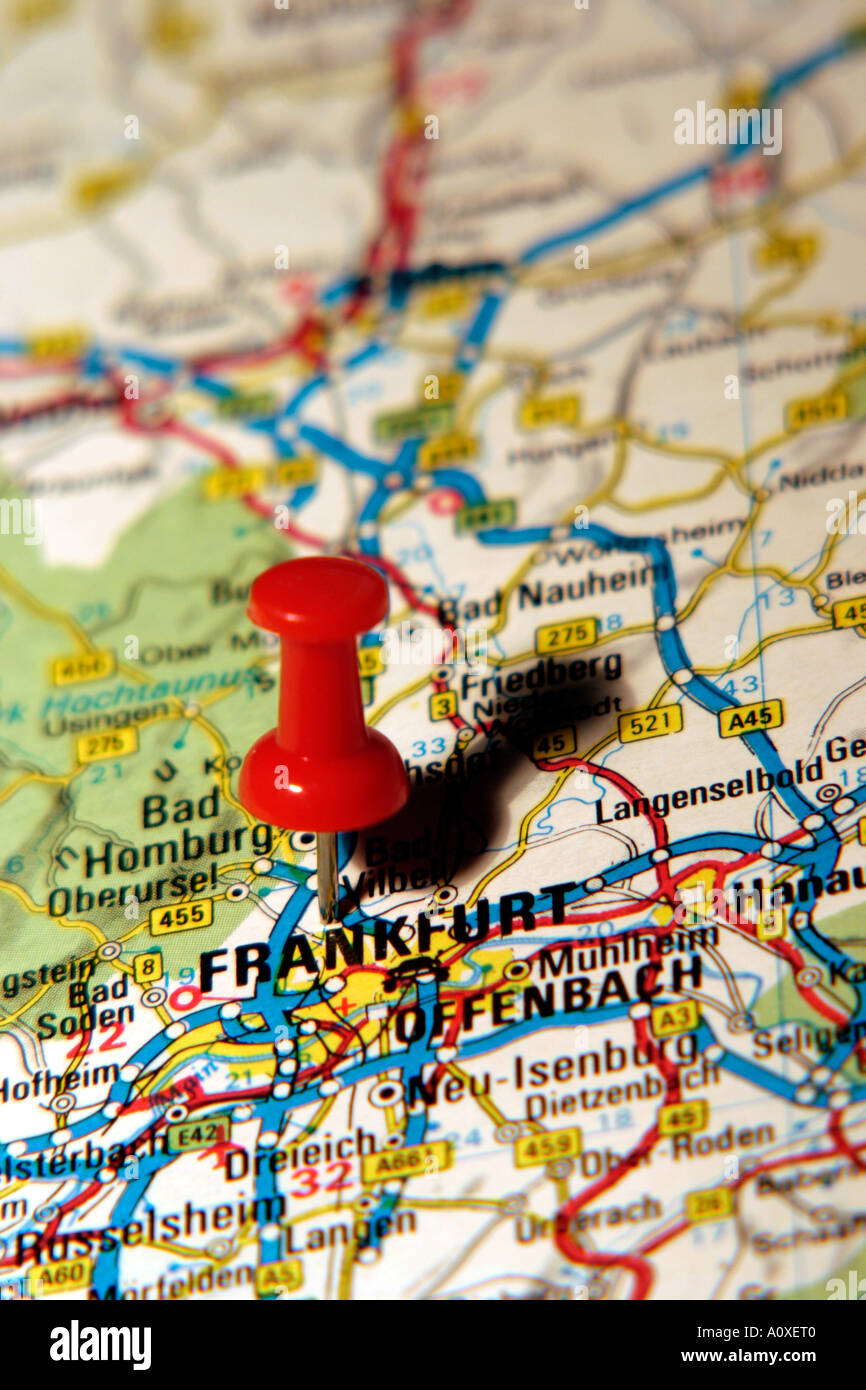 Map Pin pointing to Frankfurt , Germany on a road map Stock ...