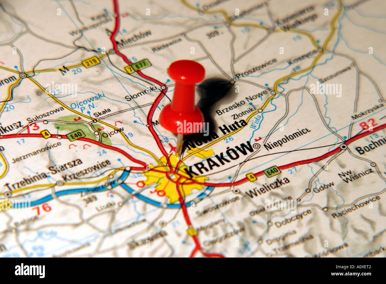 Map Pin pointing to Krakow Poland on a road map Stock Photo