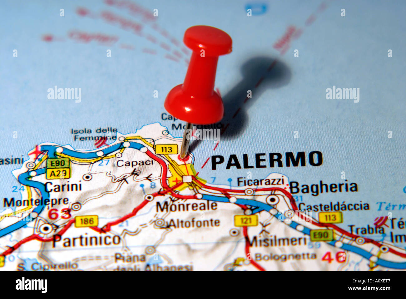 Sicily On Map Of Italy.Map Pin Pointing To Palermo Sicily Italy On A Road Map Stock