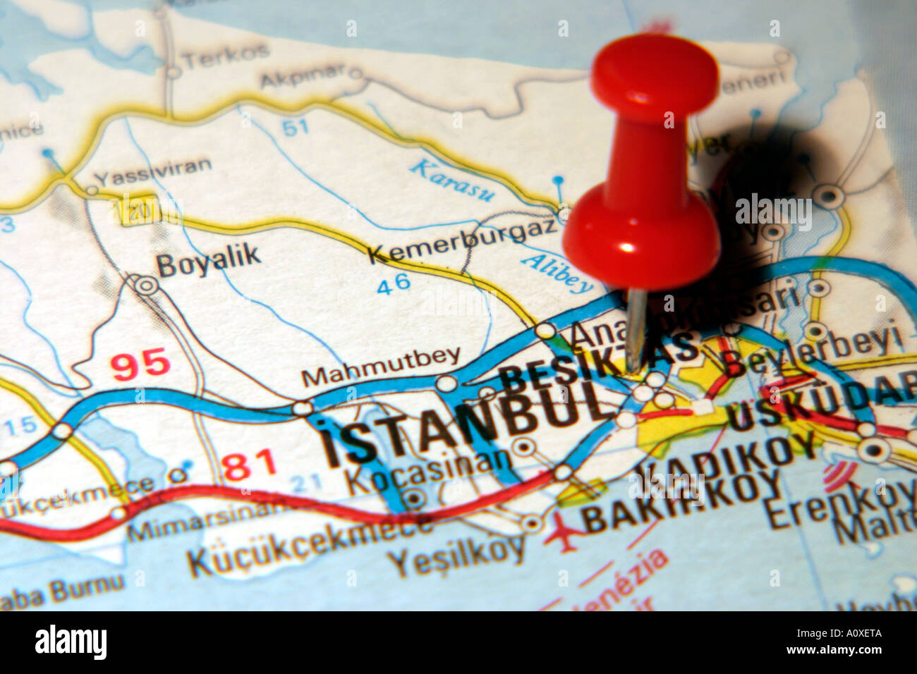 Map Pin pointing to Istanbul , Turkey on a road map Stock Photo ...