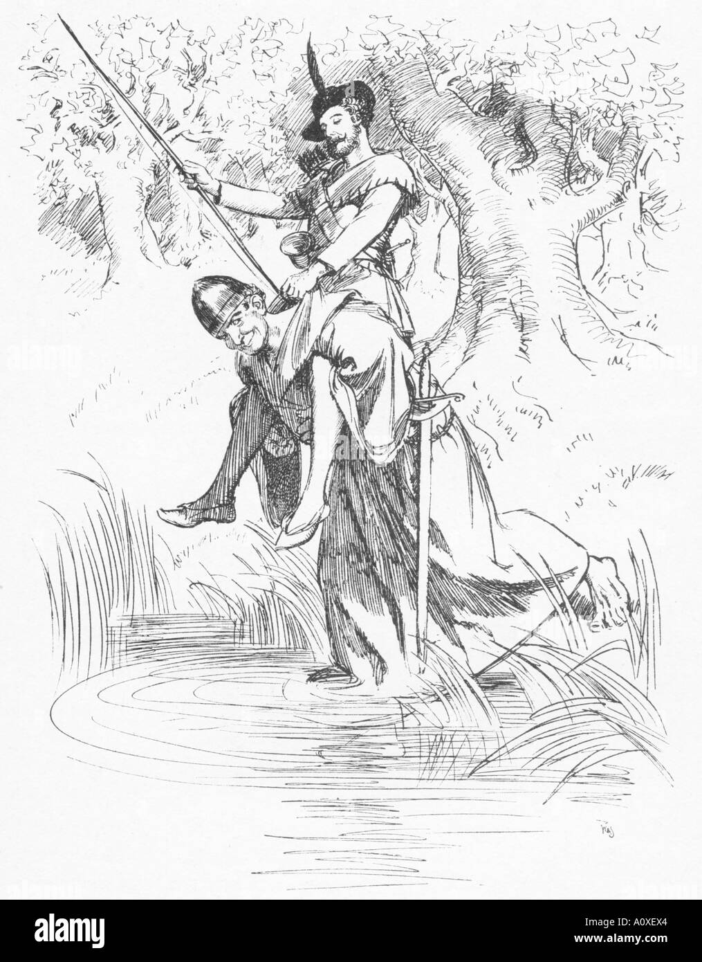 Line drawing by Hugh Thomson 1860 1920 in Highways and Byways in Yorkshire; Little John Carrying Robin Hood across - Stock Image