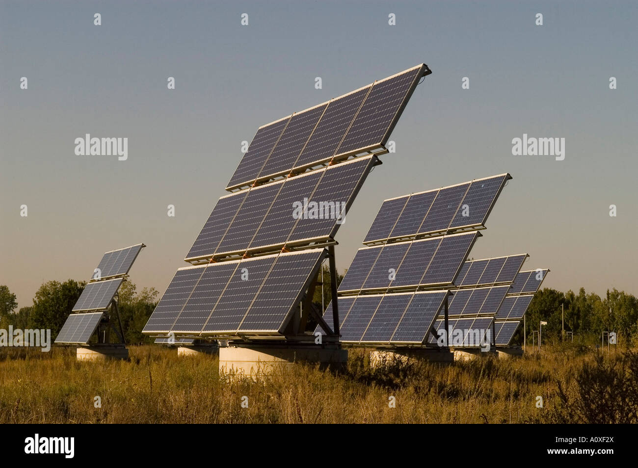 Solar modules in a testing ground - Stock Image