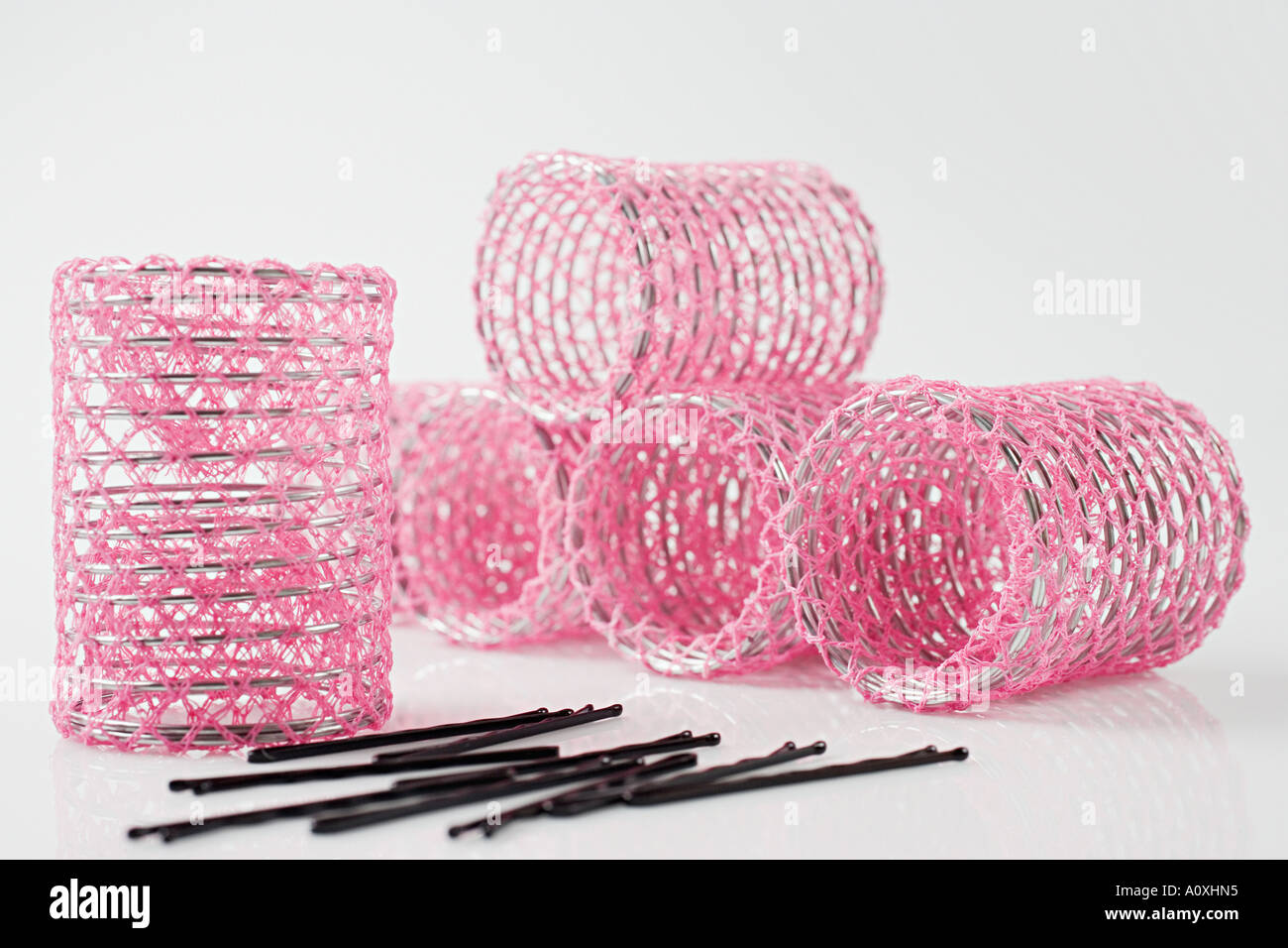 Hair rollers and hairgrips - Stock Image