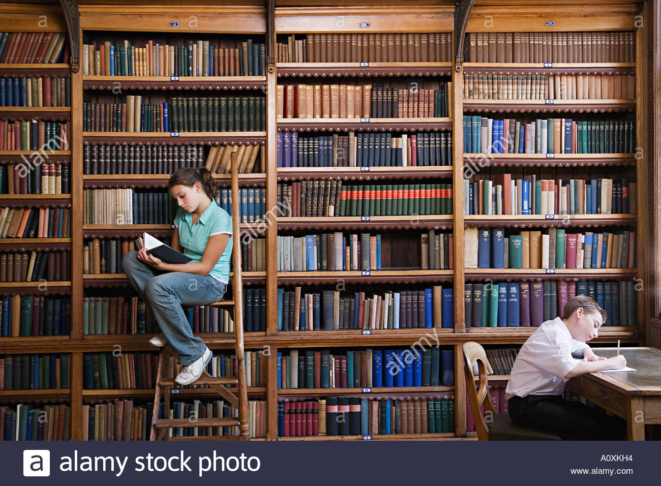 School students in the library - Stock Image