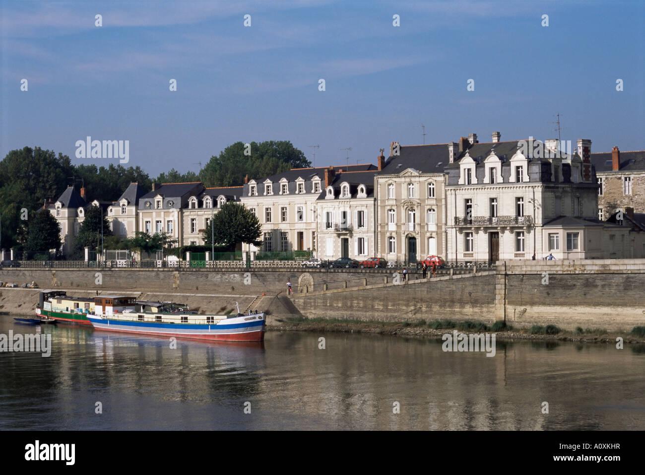 Quai des Carmes on River Maine Angers Anjou Pays de la Loire France Europe - Stock Image