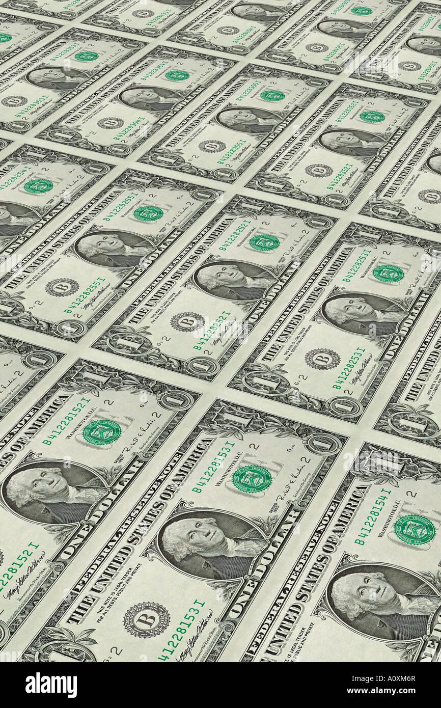 American US Dollar Bills Rolling of a Printing Press Stock Photo