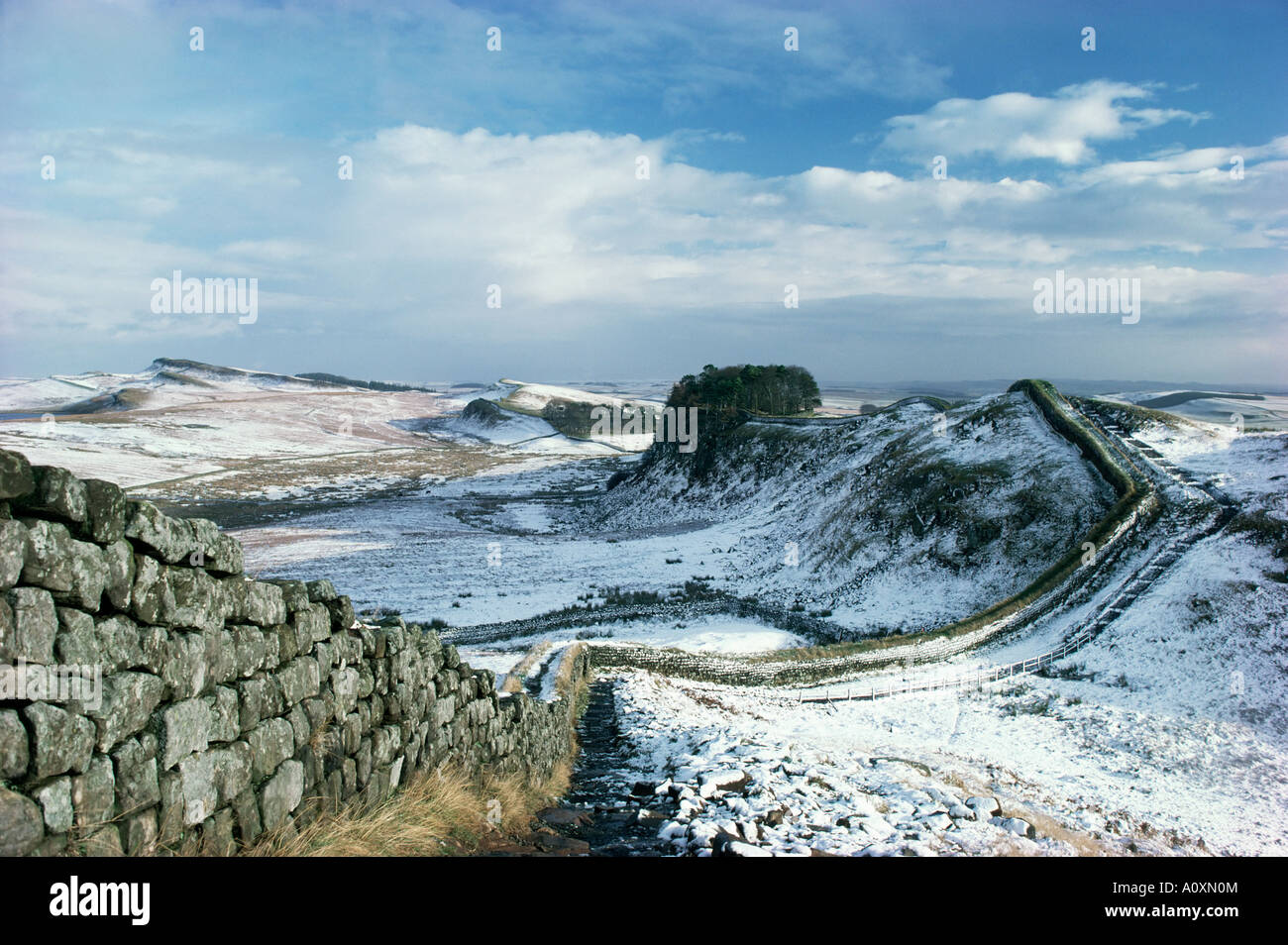 Hadrian s Wall UNESCO World Heritage Site in snowy landscape Northumberland England United Kingdom Europe - Stock Image