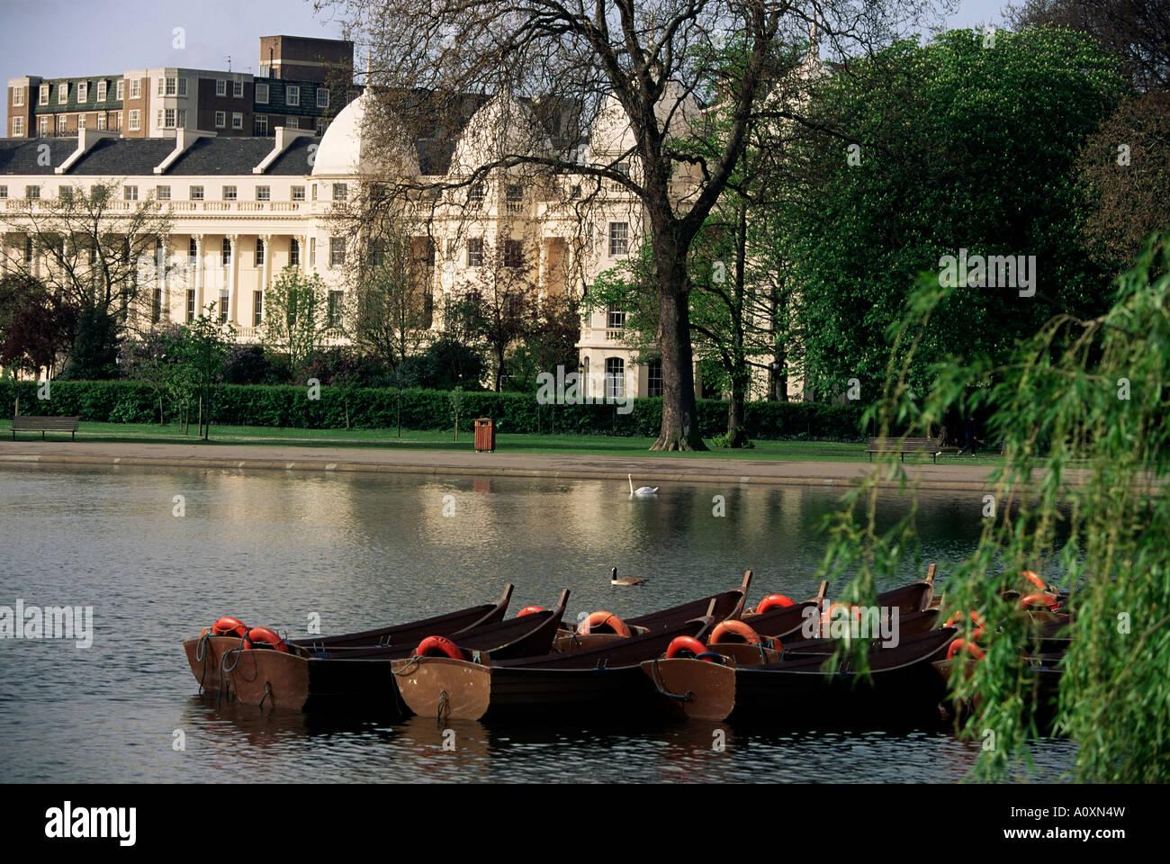 Boats on the lake Regents Park London England United Kingdom Europe Stock Photo