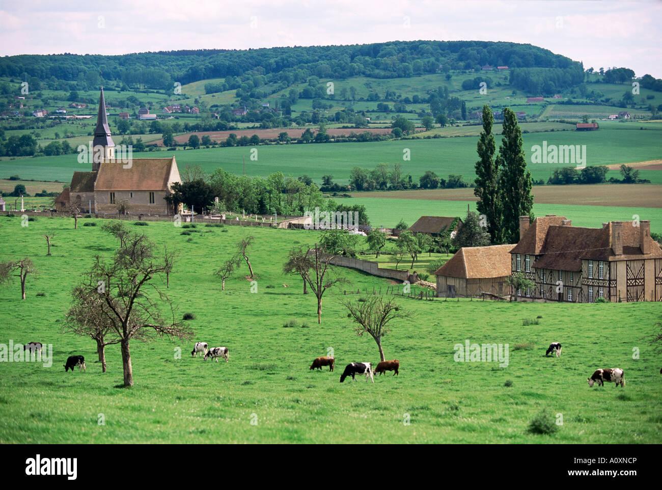 Farms near Vieux Pont en Ange near Boissey Basse Normandie Normandy France Europe - Stock Image