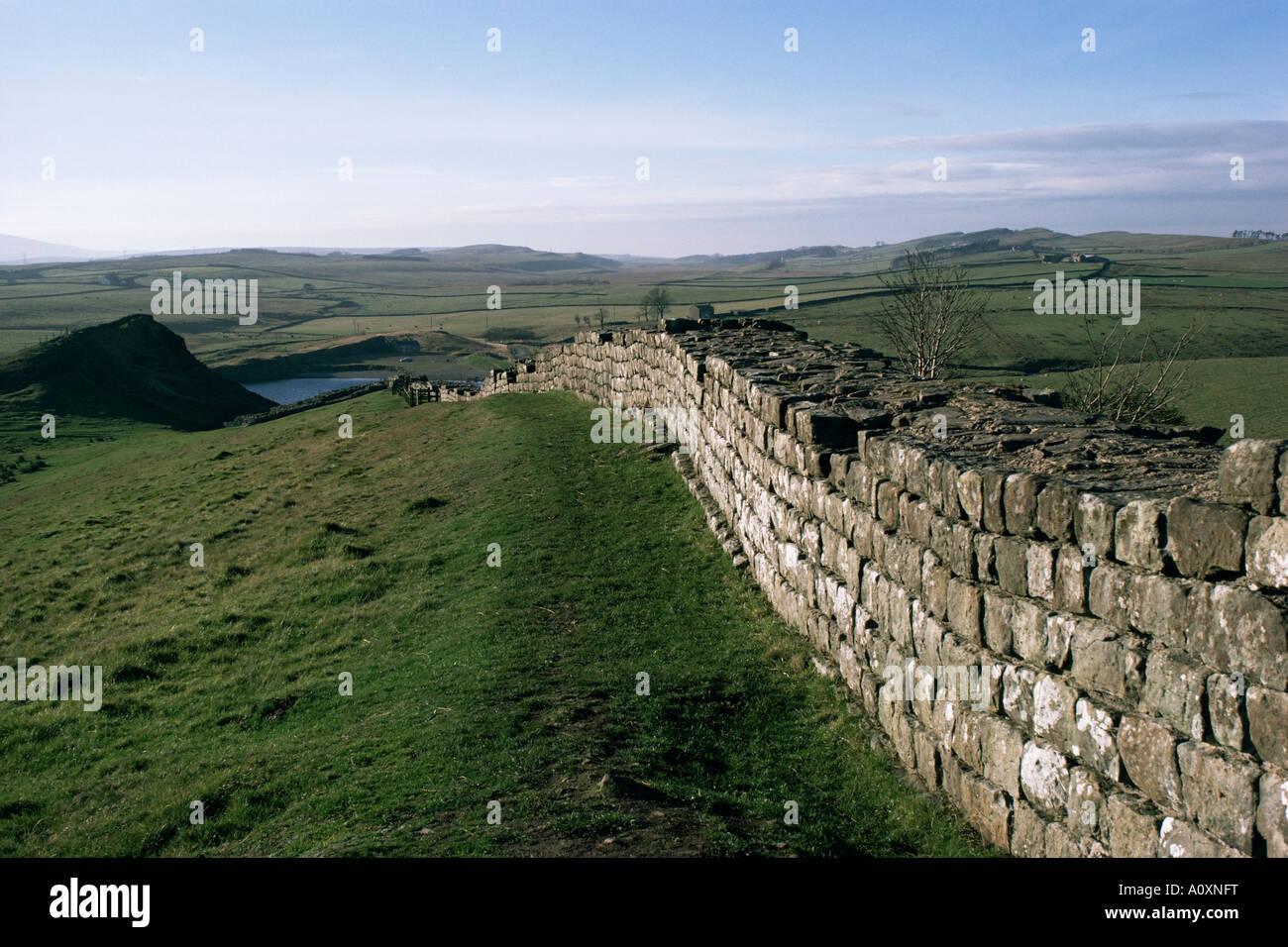 Hadrian s Wall UNESCO World Heritage Site Northumberland England United Kingdom Europe - Stock Image