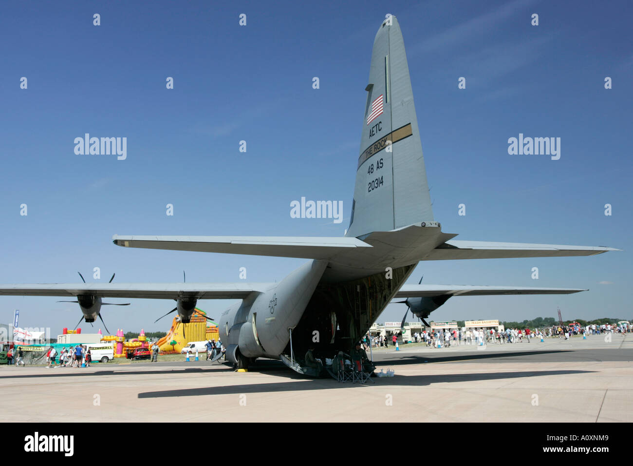 Rear cargo ramp of United States Air Force AETC CC 130J Hercules aircraft RIAT 2005 RAF Fairford Gloucestershire England UK - Stock Image