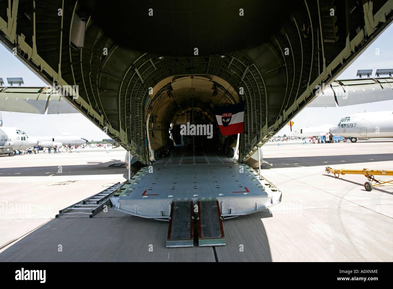 Rear cargo ramp of German Air Force Luftwaffe C 130 Hercules aircraft RIAT 2005 RAF Fairford Gloucestershire England UK - Stock Image