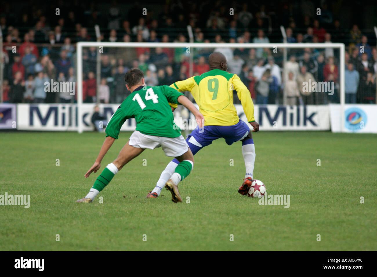 5fe15c8ec22 N Ireland 14 Jonny Steele challenges Brazil 9 Fabiano Oliveira for the ball  Northern Ireland v
