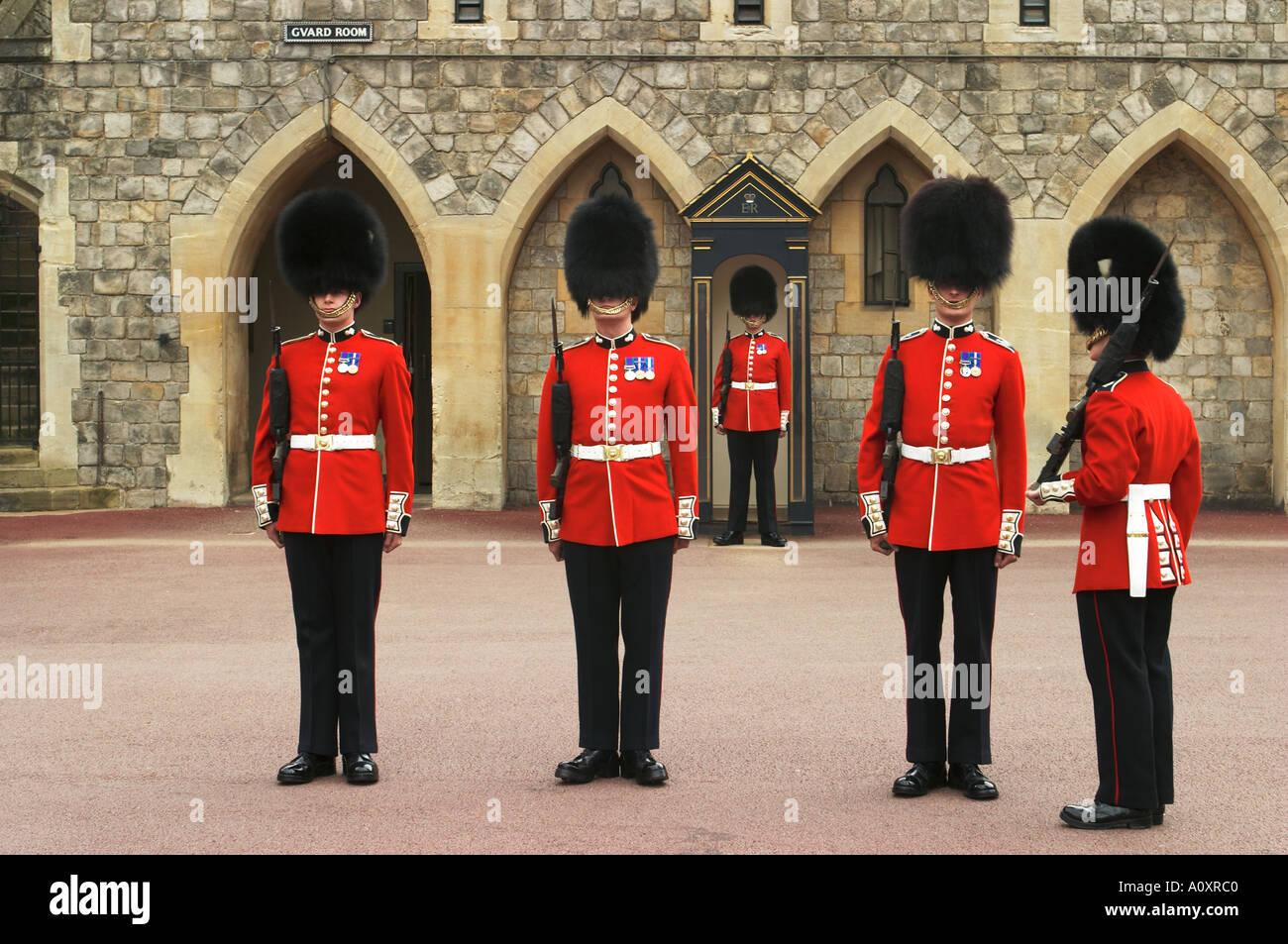 queens guards bearskin hats stock photos queens guards bearskin